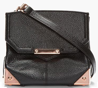Women's Black Leather and Rose Gold Marion Shoulder Bag